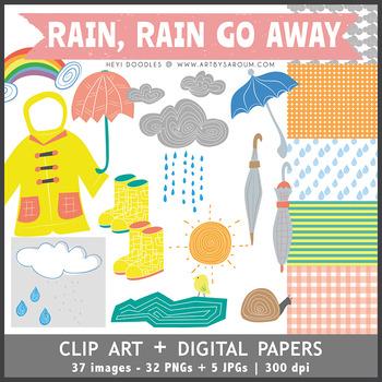 Rain, Rain, Go Away Clip Art + Digital Papers
