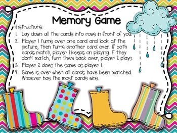 Rain, Rain, Go Away! FREE SAMPLE (Memory Game) ENGL & SPAN