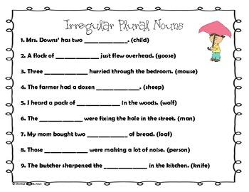 Rain Rain Go Away Irregular Plural Nouns