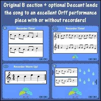 Orff Arrangement ~ Rain, Rain, Go Away: Orff, Soprano Recorder & Improvisation