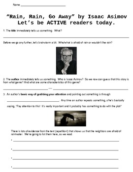 """Rain, Rain, Go Away"" Short Story by Asimov - Active Reading Guide"