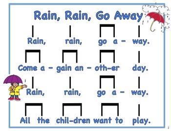 Rain, Rain, Go Away Singing and Reading Activity