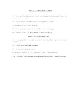 Rain Rain Go Away and the Dinner Party Vocabulary Quiz Worksheet