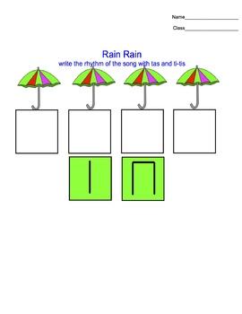 Rain Rain rhythm worksheets