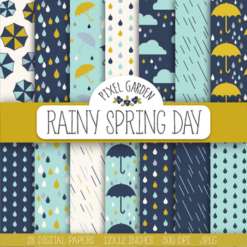 Rain, Weather, Raindrop, Umbrella, Rainboots, Could, Digital Paper - 28 JPEGs