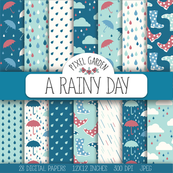 Rain, Weather, Raindrop, Umbrella, Rainboots, Could Digital Paper - 28 JPEGs