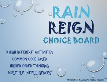 Rain Reign Choice Board Tic Tac Toe Novel Activities Menu Assessment Project