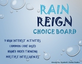 Rain Reign Choice Board Tic Tac Toe Novel Activities Menu