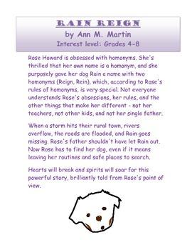 Rain Reign: Novel Study Guide (CCSS Aligned)