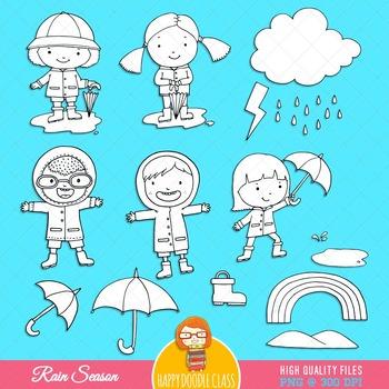 Rain Season Clip Art Bundle. 56 pieces.