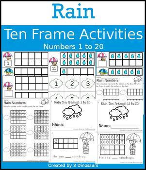Rain Ten Frame Activities (1-20)