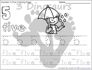 Rain Themed Number Color and Trace