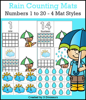 Rain Themed Number Counting Mats