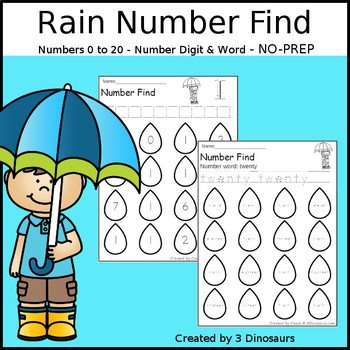 Rain Themed Number Find