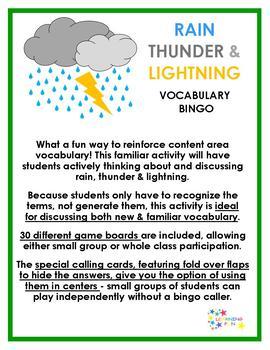 Rain, Thunder & Lightning Vocabulary Bingo