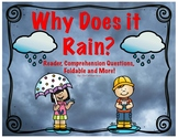 Rain.  Why Does it Rain-Water Cycle? Reader, Comprehension, Foldable and MORE!!!