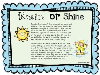 Rain or Shine Spring Weather Sight Word Game