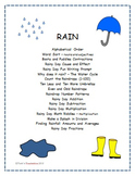Rain - raindrops, umbrellas, boots, and the water cycle