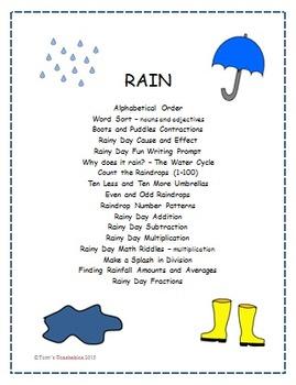 Rain - raindrops, umbrellas, boots, and the water cycle