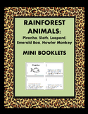 RainForest Animals Minibooks:Piranha, Sloth, Leopard, Emerald Boa, Howler Monkey