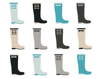 Rainboot Clipart, Digital Design, Rainboot Clipart Set #090