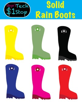 Rainboot Clipart * Solid Colors * Summer * Spring * Rain