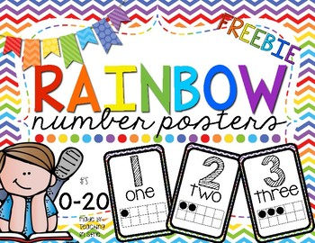 Rainbow 0-20 number posters