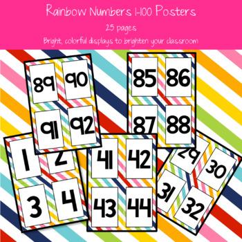 Rainbow 1-100 Posters