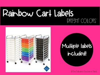 Rainbow/10-Drawer Cart Labels - Bright Colors