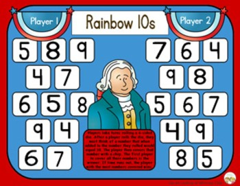 Rainbow 10s / Friendly 10s - Presidents Day Adding Strategy Game - 2 Versions