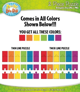 Rainbow 2 Piece Puzzles Clipart — Includes 36 Graphics!