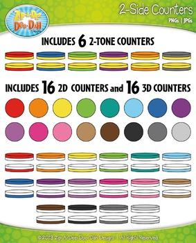 Rainbow 2-Sided Circle Counters Clipart {Zip-A-Dee-Doo-Dah Designs}