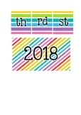 Rainbow 2018 calendar sign