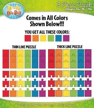 Rainbow 3 Piece Puzzles Clipart {Zip-A-Dee-Doo-Dah Designs}