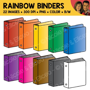 Rainbow 3-Ring Binder Clipart