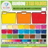 Rainbow 3 Tab Folders Clip Art {Back to School}