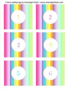 Classroom Decor Rainbow 3 inch Number Tags