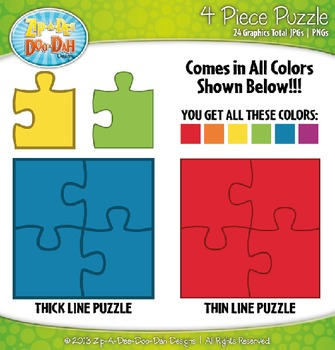 Rainbow 4 Piece Puzzles Clipart — Includes 24 Graphics!