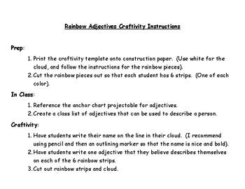 Rainbow Adjectives Packet