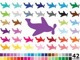 Rainbow Airplane Clipart - Digital Vector Airplane, Plane Clipart