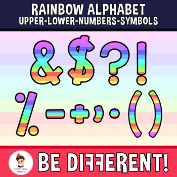 Rainbow Alphabet Clipart Letters ENG.-SPAN. (Upper-Lower-Numb.-Symbols)