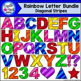 Rainbow Alphabet Letters Clip Art: Diagonal Stripes by Doo