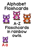 Rainbow Alphabet Owls.  Flashcards ***bonus Monkey Flashcards***