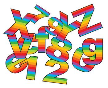 "Rainbow Alphabet Plus 1-100 Numbers  /198 pcs - 3"" High,"