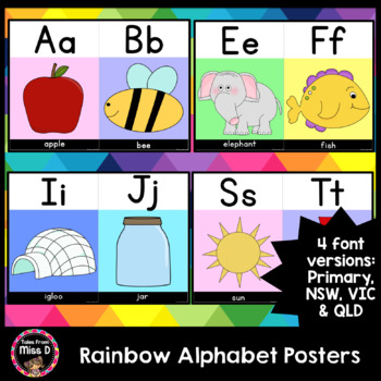 Rainbow Pastel Alphabet Posters NSW, VIC, QLD, PRIMARY FONT