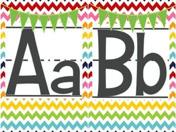 Rainbow Alphabet Set Cute Chevron