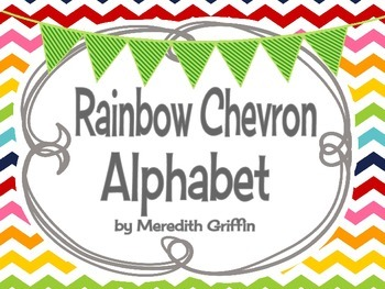 Rainbow Alphabet Set Cute Chevron