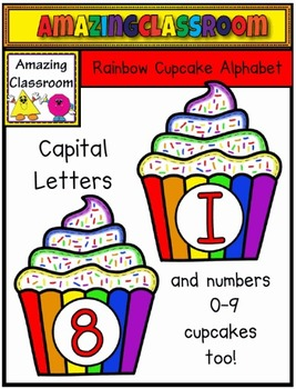 Alphabet and Numbers Cupcake Clip Art