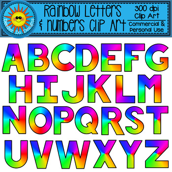 Rainbow Alphabet and Numbers Clip Art