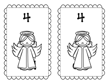 Rainbow Angels, a color by number activity for young children